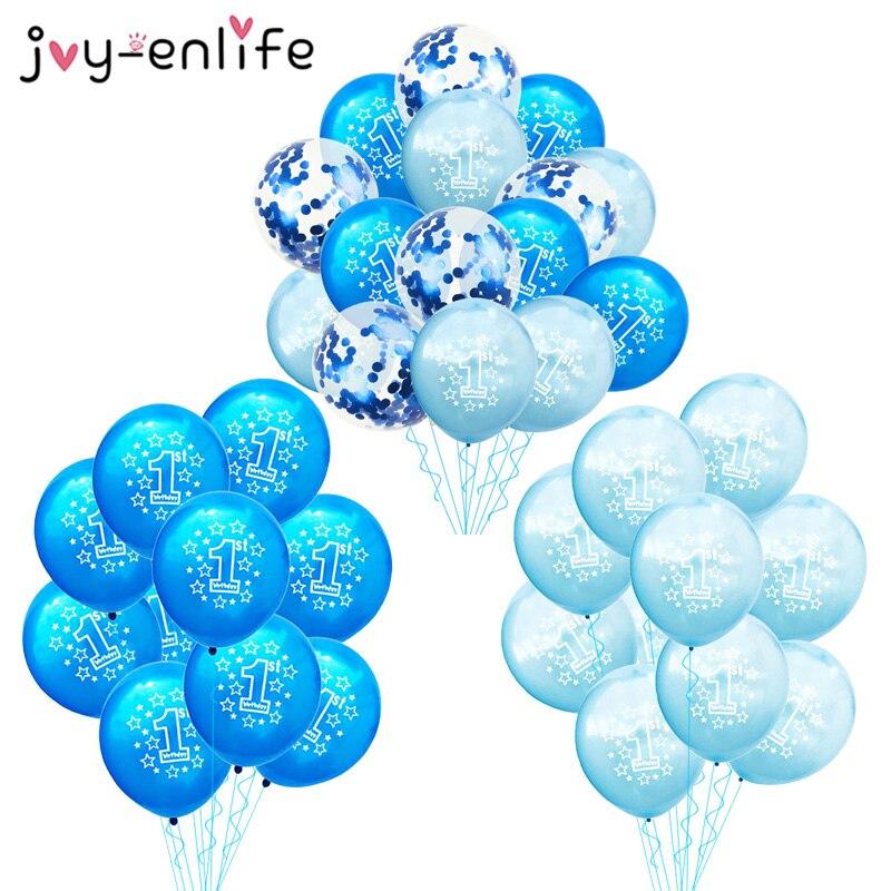 10 шт., воздушные шары для первого дня рождения, синие конфетти, латексные шары для маленьких мальчиков 1 год, первый день рождения, вечеринка, ...