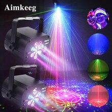 Proyector láser de luz LED para escenario, lámpara de discoteca con Control de voz, luces de fiesta de sonido para DJ en casa, espectáculo de láser, novedad de 2021