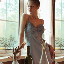 Female Summer Perspective Nightdress Sleepwear Home Clothes Silk Satin Lace Eyelashes Sling Backless Temptation Sexy Lingerie