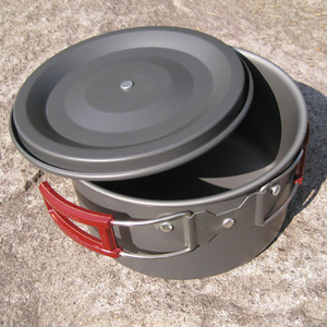Image 5 - 3l 19*11 cm liga de alumínio ao ar livre acampamento pote panelas piquenique pratos portátil único pan pot utensílios de mesa ao ar livre caminhadas