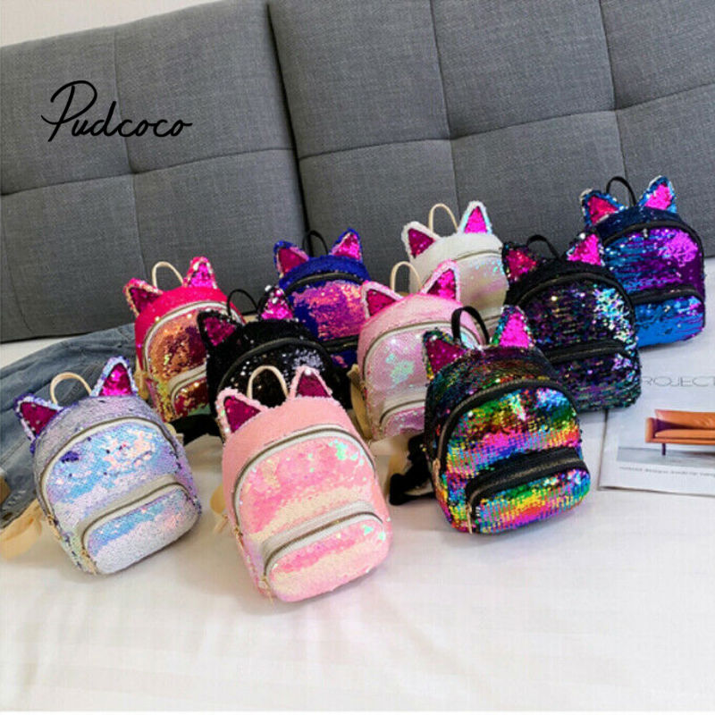 Pudcoco 2019 Baby Accessories Bling Bling Lovely Kids Baby Backpack 3D Cartoon Bag Children Girls Cat Sequins School Bag