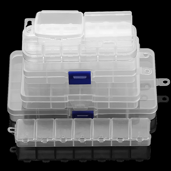 Adjustable Compartment Plastic Storage Box Transparent Jewelry Earring Beads Screw Holder Case Display Organizer Container jhnby plastic rectangle 24 grid compartment storage big box earring ring jewelry beads case container display diy accessories