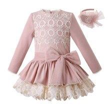 Pettigirlใหม่สีชมพูลูกไม้ชุดHeadbandชุดเจ้าหญิงBoutique Girlsชุดฤดูใบไม้ร่วงเสื้อผ้าเด็ก