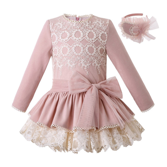 Pettigirl New Pink Lace Girls Dress With Headband Princess Dress Boutique Girls Party Dress Autumn Children Clothing