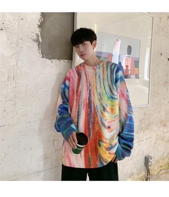 2019 jesień i zima nowy kamuflaż wokół szyi sweter mężczyzn jest Port wiatr luźne moda luźny pulower młodzieży fala M-2XL tanie i dobre opinie Uyuk Kolorowej wełny Drukuj Pełna B318-1-Q01-P75 Na co dzień REGULAR O-neck STANDARD Szydełkowane Brak Swetry COTTON