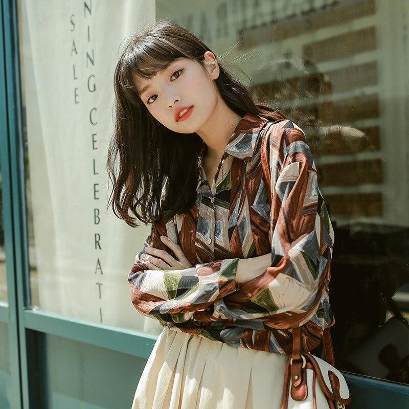 Vintage Print Shirt Women Spring Loose Chic Design Chiffon Shirt Casual Blouse Tops Painting Fashion Ladies Street Wear Shirts