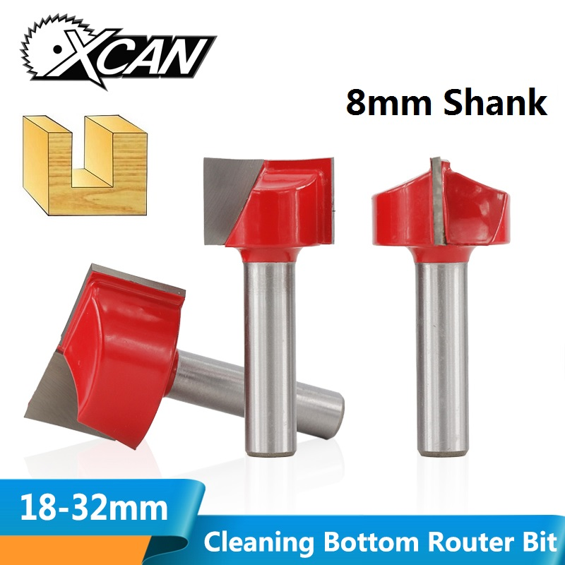 XCAN 1pc 8mm Shank 18/20/22/25/30/32mm Bottom Cleaning Router Bit Carbide End Mill T Slot Wood Milling Cutter