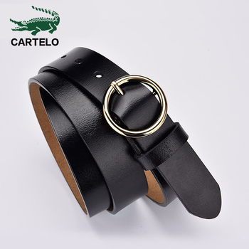 CARTELO female deduction side gold buckle jeans wild belts for women fashion students simple New Circle Pin Buckles Belt