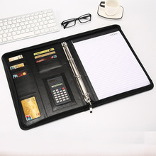 цена на A4 Document Folder PU Leather Zipped Ring Binder Conference Bag Business Briefcase Office School Supply With Calculator Notebook