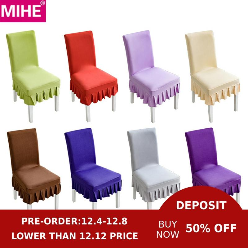 MIHE Solid Color Chair Cover Spandex Stretch Elastic Chair Covers Slipcovers For Dining Room Banquet Hotel Kitchen Wedding YZT18
