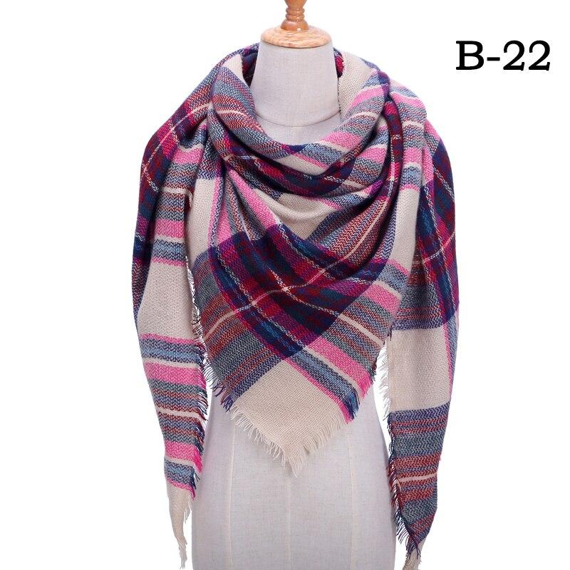 Женский зимний шарф в ретро стиле, кашемировые вязаные пашмины шали, женские мягкие треугольные шарфы, бандана, теплое одеяло, новинка - Цвет: bb22