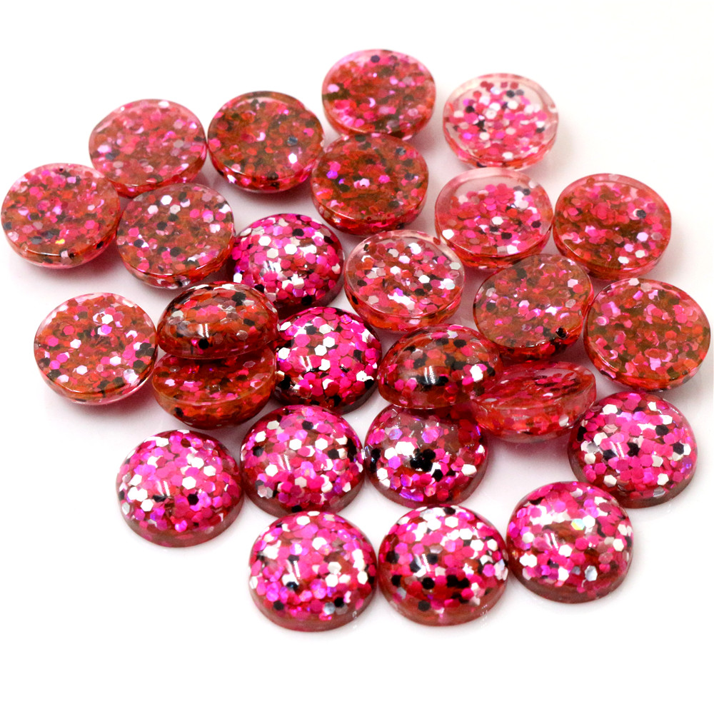40pcs 12mm New Fashion Rose Red And Black And Silver Colors Mix Color Flat Back Resin Cabochons Cameo  G3-37