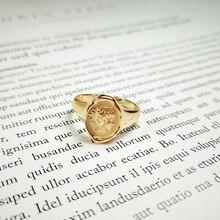 925 فضة صورة بيان المرأة 18k خاتم ذهبي سيدة تنقش البيضاوي ميدالية خواتم مفتوحة في S925