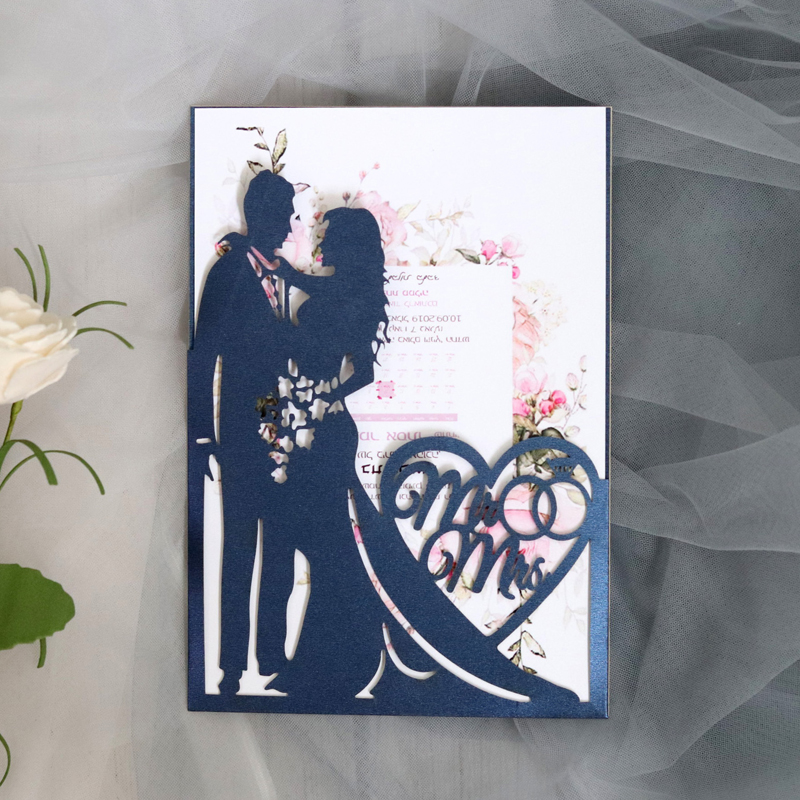 1pcs เจ้าสาวและเจ้าบ่าว Hollow เลเซอร์ตัดบัตรเชิญงานแต่งงานการ์ดอวยพรวันวาเลนไทน์งานแต่งงานตกแ...