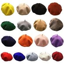 Beanie-Cap Beret-Hat Painter Warm Artist Classic Elegant Retro French Women Solid Wool