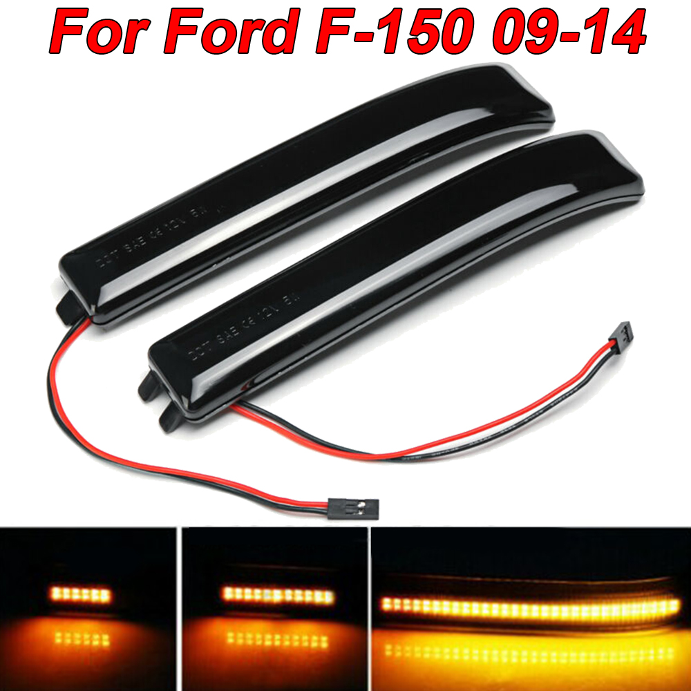 For 2009-2014 Ford F150 2x Mirror LED Side Lights Turn Signal Lens Reflector