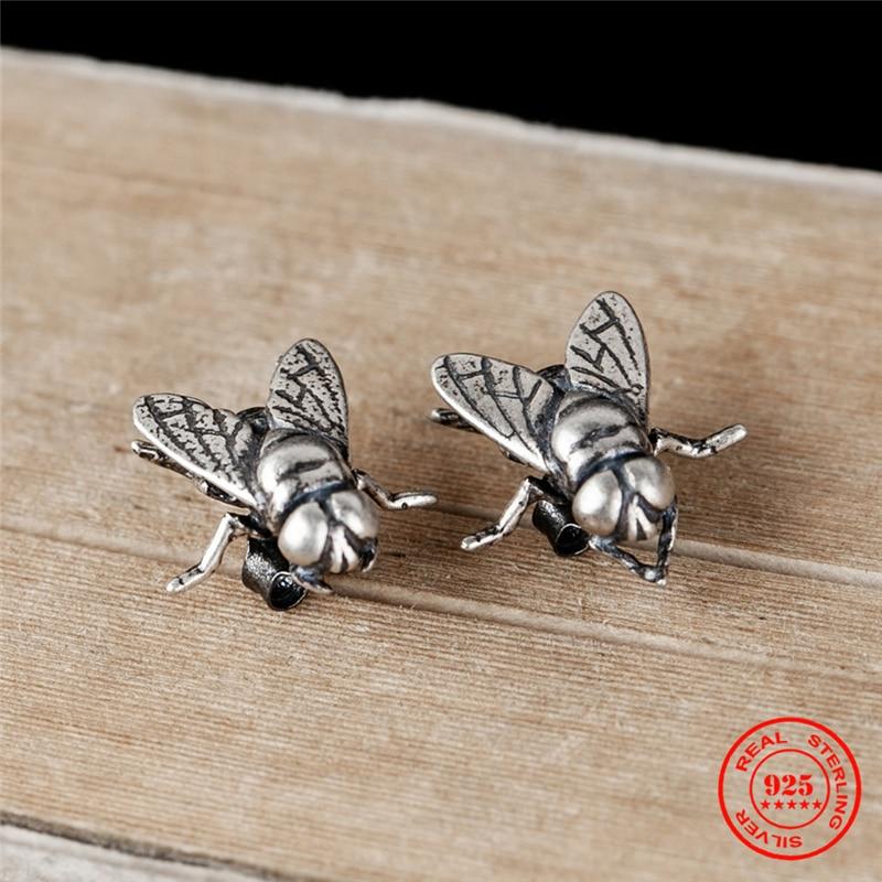 MKENDN Personality Funny Flies Stud Earrings For Men Women 925 Sterling Silver Punk Street Ear Studs Bijoux Anti-allergy Jewelry