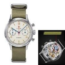 Kırmızı yıldız erkekler Chronograph saatler ST1901 hareketi ile Gooseneck cihazı 1963 Pilot safir akrilik cam mekanik saat Mens