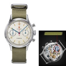 Rouge étoile hommes chronographe montres ST1901 mouvement avec col de cygne dispositif 1963 pilote saphir acrylique verre mécanique montre hommes