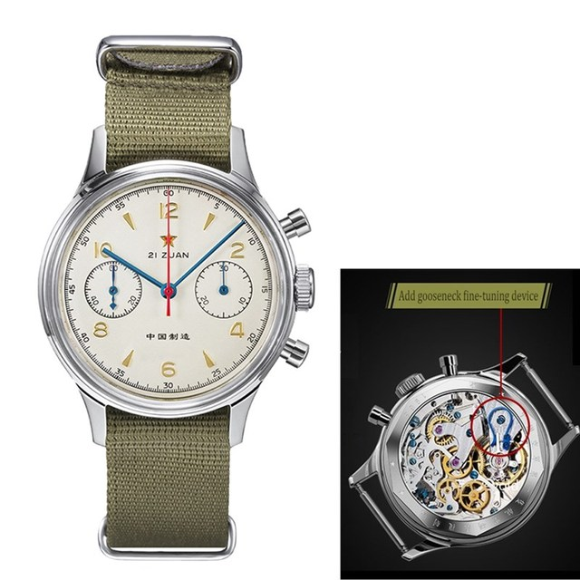 레드 스타 남자 크로노 그래프 시계 ST1901 구즈넥 장치와 운동 1963 파일럿 사파이어 아크릴 유리 기계식 시계 망