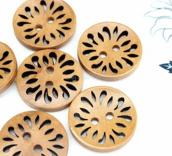 250pcs Flower filigree Wood Button Light brown 25mm  Carved Wood Buttons, 1