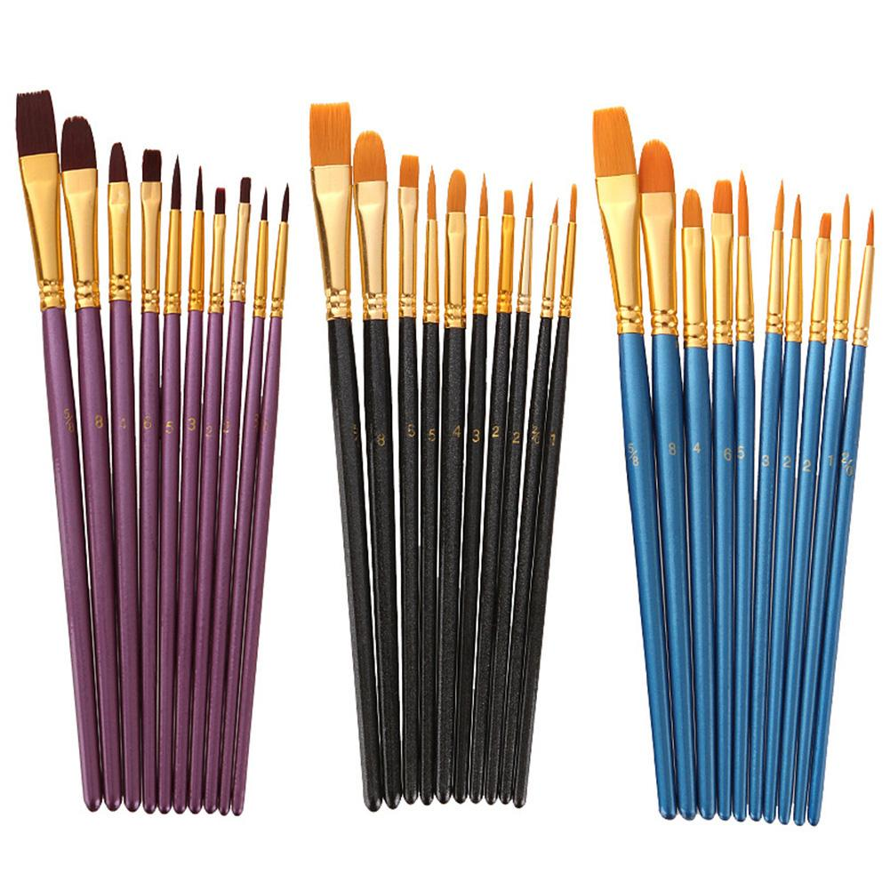 10Pcs Watercolor Gouache Wood Aluminum Painting Brushes Long Handle Soft Nylon Hair Pens Art Supplies