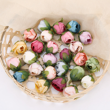 Rose-Flowers Bouquet Wedding Diy-Decoration Artificial-Silk Small Retro Vintage Home