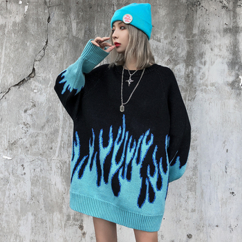Flame Crew Neck Knitwear Jacquard Women's Sweater Hip Hop Sweater Pullover Hipster Sweater Woman Clothing джемпер женский цена 2017