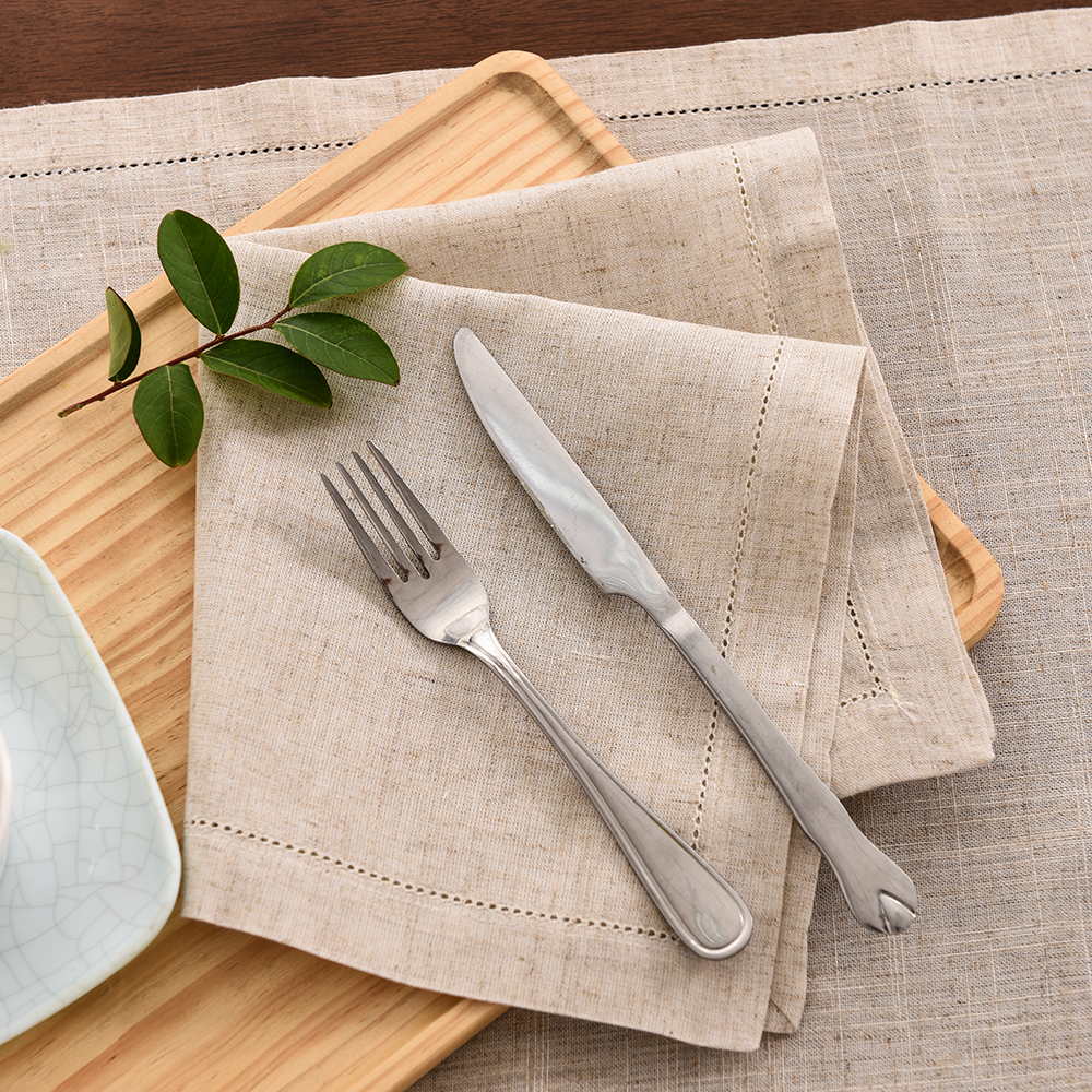 12Pcs Table Napkins Cloth Fabric Serving Napkins Cotton For Plates Dinner For Wedding Party Hemstitch Linen Table Napkins Home