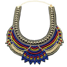 Fashion Handmade Ethnic Choker Multicolor Bib Necklaces Beaded Statement Necklaces Boho Jewelry Accessories for Women c quanchi woman jewelry statement necklaces