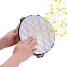 8 дюймов деревянный лучистый бубен колокольчик ручной барабан с двухрядной отражающей головкой музыкальный ударный инструмент игрушка