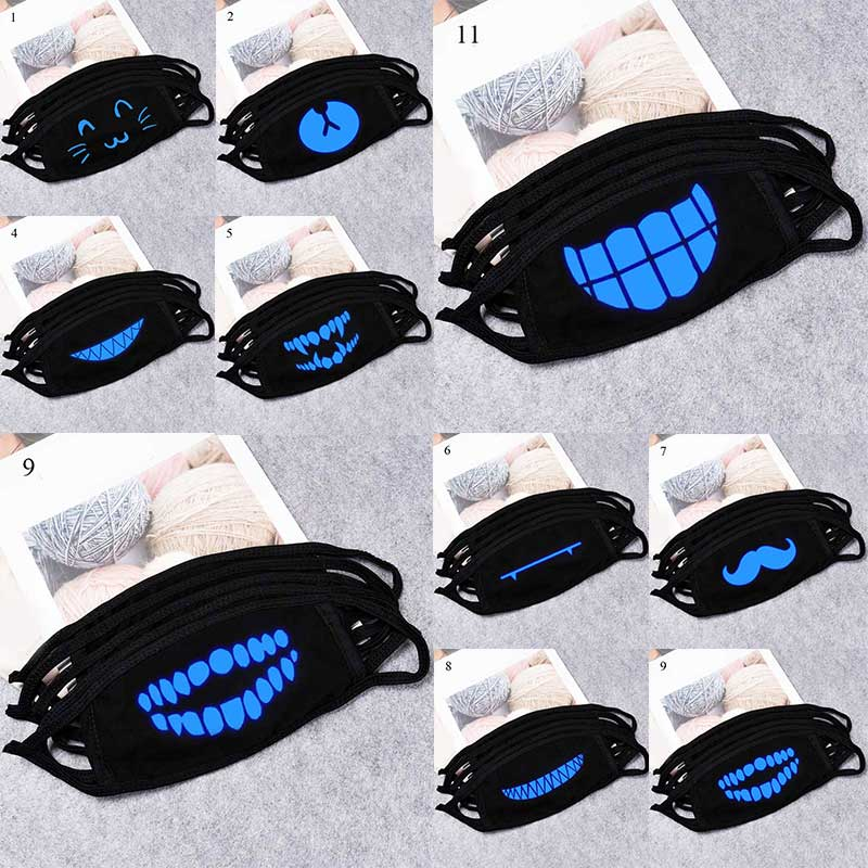 New Glow In Dark Skull Mouth Masks Cotton Dustproof Anime Cartoon Kpop Lucky Bear Woman Men Black Mask Mouth Unisex Party Masks