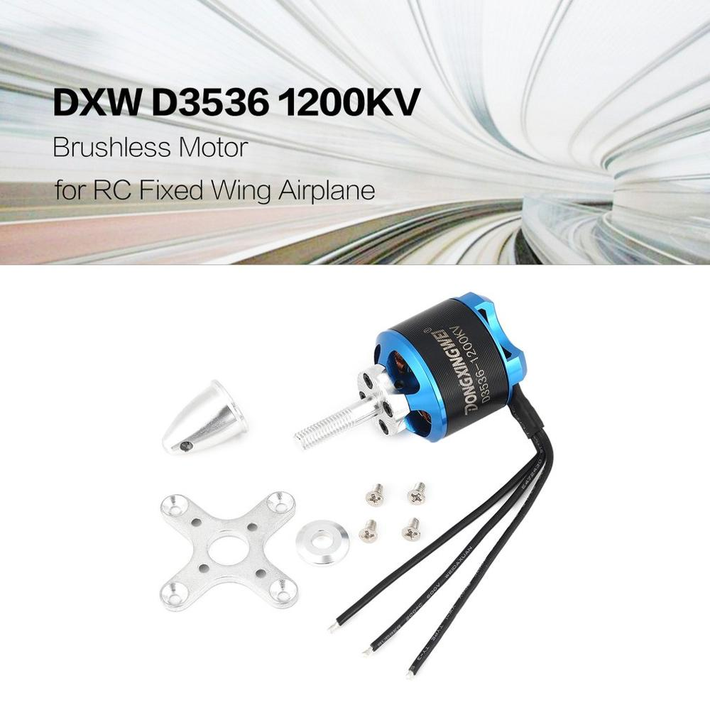 DXW A2212 D3536 1000KV 1200KV 2-4S 3.17mm Outrunner Brushless Motor For RC FPV Fixed Wing Drone Airplane Aircraft 1047 Propeller
