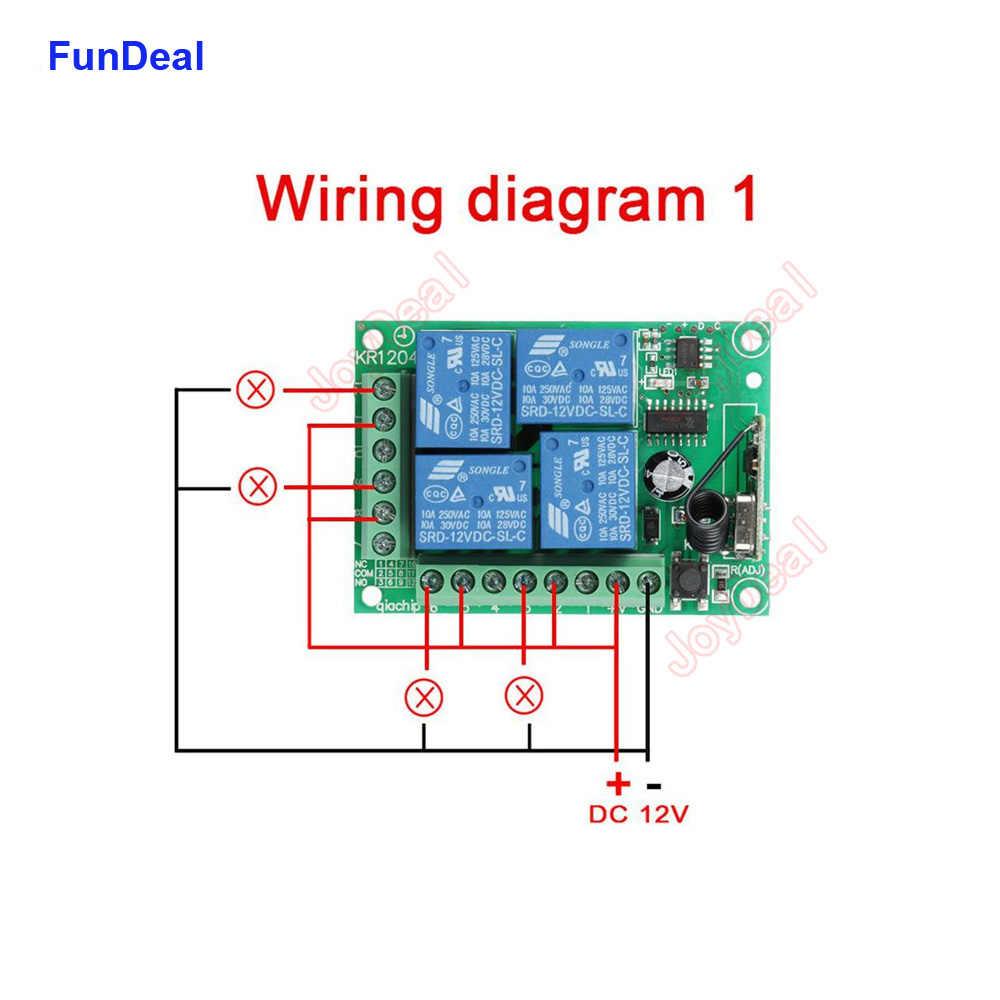 433 MHz DC 12V Không Dây Đa Năng Điều Khiển Từ Xa RF 4CH Tiếp Đài Phát Thanh Module Thu Và Thông Minh Điều Khiển Từ Xa thiết Bị Phát