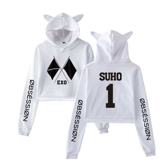 WE ARE ONE EXO OBSESSION CROP TOP EAR HOODIE (25 VARIAN)