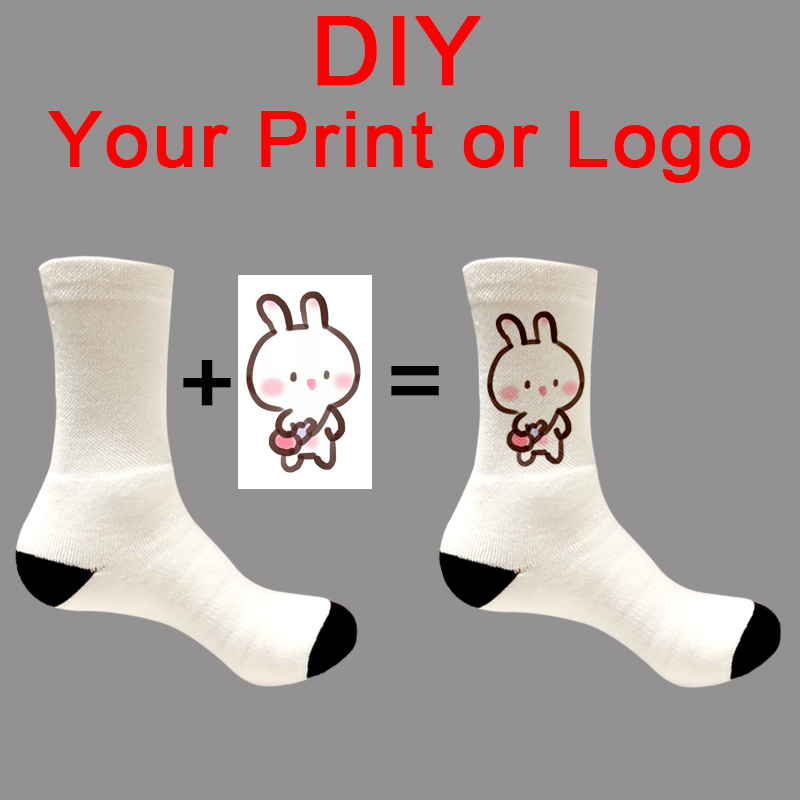 Socks Spring Photo-Logo Customized Winter Cotton Summer Women's Brand DIY for Autumn