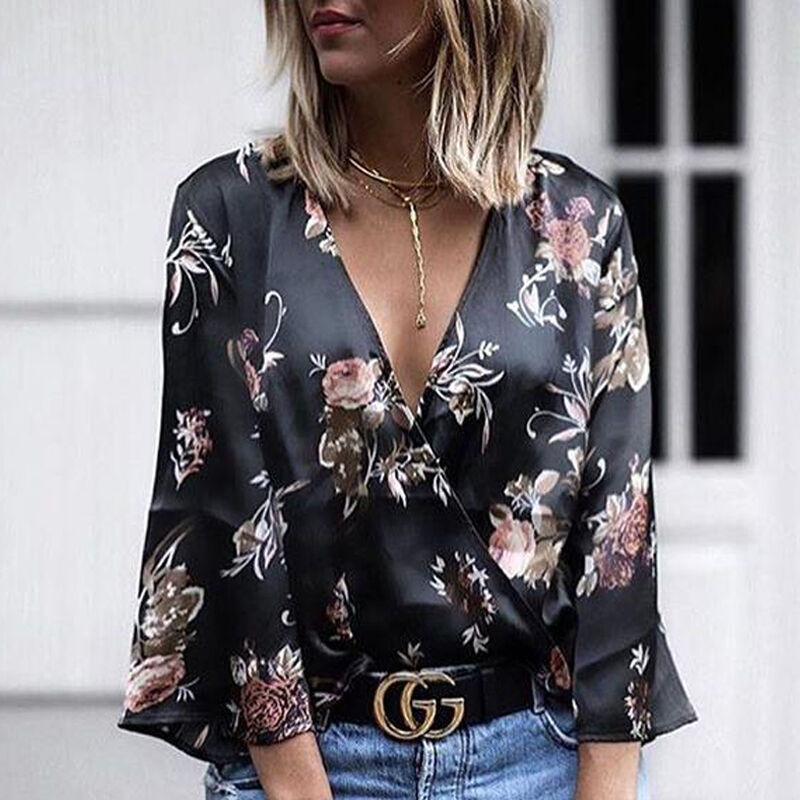 Fashion Hot Sales Summer Black Women Floral Long Sleeves V-Neck Office Work Wear Casual Slim Chiffon Tops Shirt