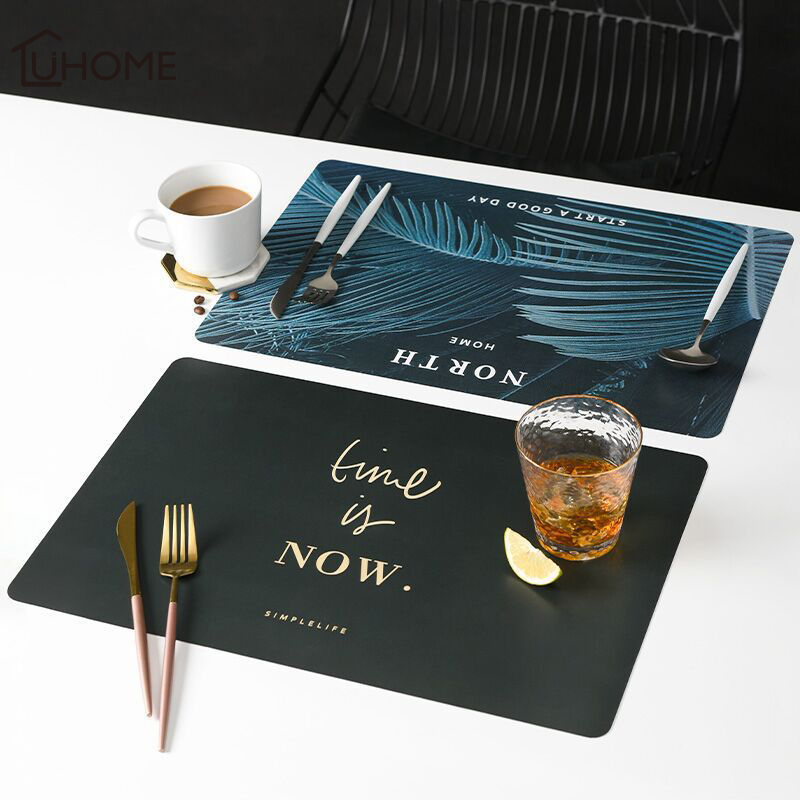 2Pcs//Set Kitchen Placemats Coasters Dining Table Bowl Mats PU Leather Washable