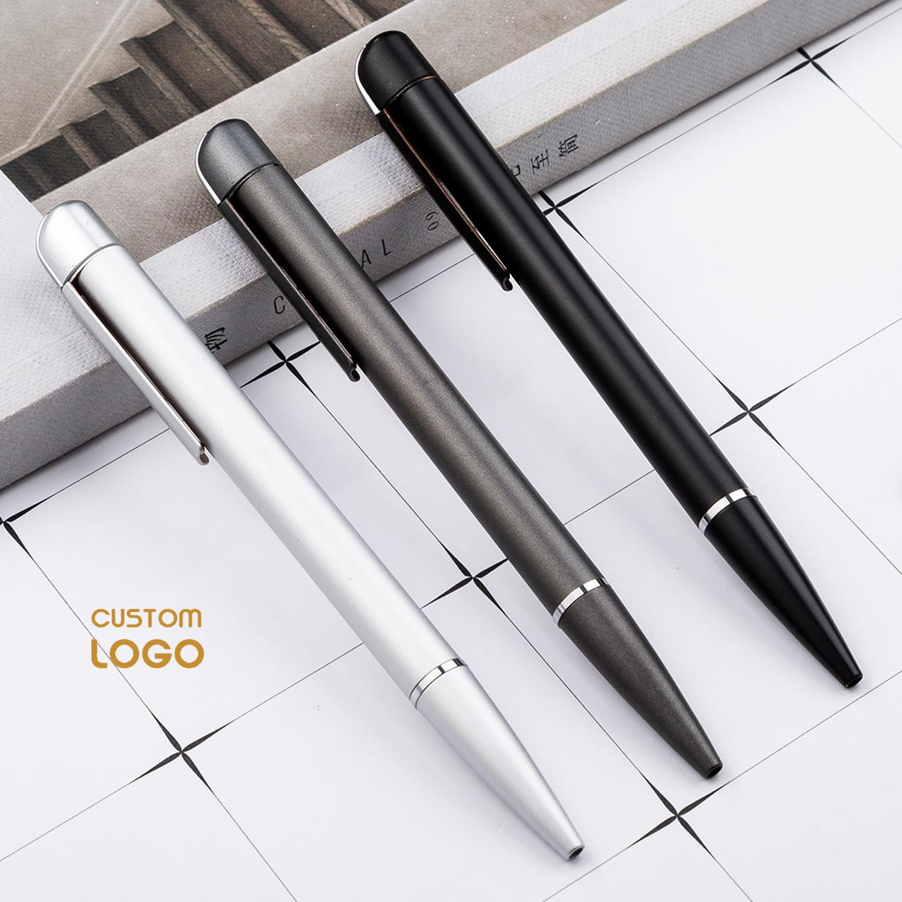 Customized Pens Business Logo 1.0mm Black Ink Metal Ballpoint Pen Personalized Gift Pen Engrave Logo Name School Office Supplies image