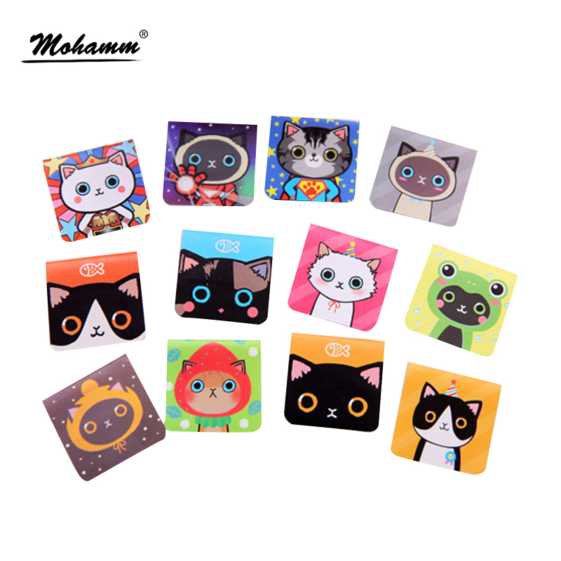 3 Pcs/lot Cartoon Cute Kawaii Lovely Magnetic Cat Fashion Paper Clips Gift  Bookmark School Office Supplies Student Stationery
