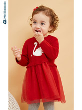 Minibalabala Baby baby thick dress girl knit stitching mesh dress cotton long sleeve 2019 winter new style(China)