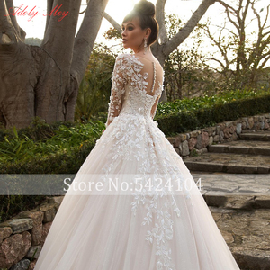 Image 4 - Adoly Mey Design Gorgeous Appliques Flowers Beaded A Line Wedding Dresses 2020 Elegant Scoop Neck Long Sleeve Vintage Bride Gown