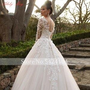 Image 4 - Adoly メイデザインゴージャスなアップリケの花ビーズ a ラインのウェディングドレス 2020 エレガントなスクープネック長袖ヴィンテージ花嫁