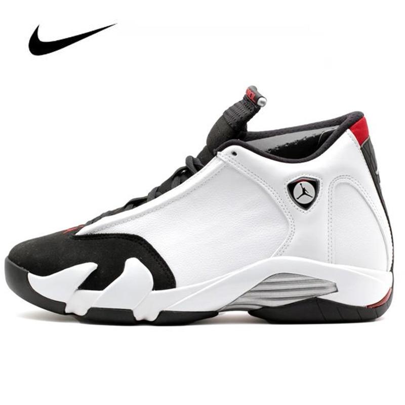 Original Nike Air Jordan 14 Retro Black Toe 487471-102 Men's Basketball Shoes High Top Basketball Unisex Jordan Women Shoes