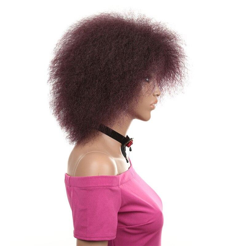 Афро парик для женщин Африканский коричневый цвет темно-красный черный яки Синтетический прямой короткий Косплей парик волосы черные