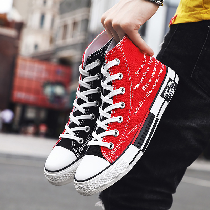 Man Fashion Canvas Shoes Boys 2020 New Flat Casual Colorblock Comfortable Breathable Footwear Sewing Lace up The Man Plus size