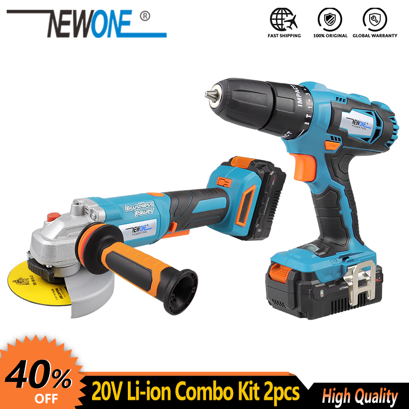 NEWONE Electric Power Tool 20V Li-ion Cordless Impact Drill Screwdriver Cordless Brushless Angle grinder Combo Kit Grinding