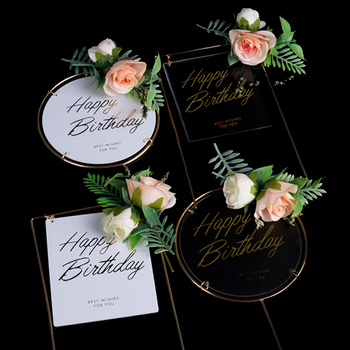 Happy Birthday Decoration Acrylic Cake Toppers with Flower Mini Party Baking Decorating Flags