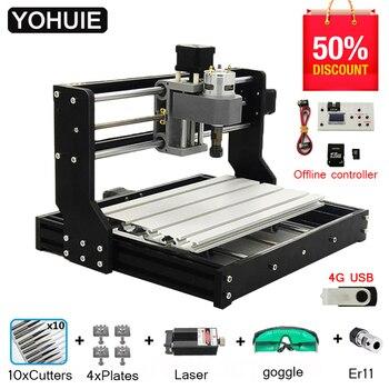 CNC 3018 PRO grabador láser madera CNC enrutador máquina GRBL ER11 Hobby DIY máquina de grabado para madera PCB PVC Mini CNC3018 grabador