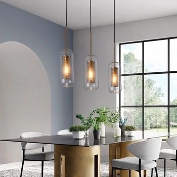 Modern retro glass pendant light restaurant pendant lamp gold bronze metal cage glass hanging cord light E27 E26 holder lights